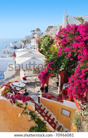 Santorini village - stock photo