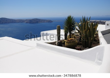Santorini, white buildings, All white. Greece most famous Island.