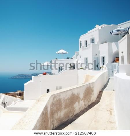 Santorini with church,white architecture  and sea view in Greece,Imirovigli. - stock photo