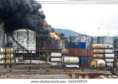 Santos, Brazil - April 3. Fire at refinery next to the Port of Santos in Alemoa neighborhood  on April 3th, 2015, in Santos, Brazil.