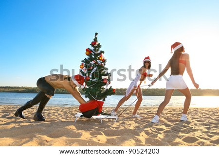 Santos pulling Christmas tree on a sled at the beach. - stock photo