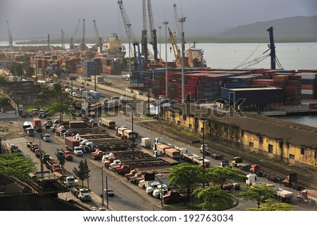 Santos, Sao Paulo, Brazil -� September. 16. 2011: Port of Santos with cargo ships and lift machines, Brazil'?s biggest seaport, once flourished by coffee export, Santos, Sao Paulo, Brazil - stock photo