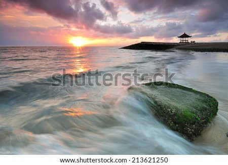 Sanur beach sunrise in Bali Indonesia - stock photo
