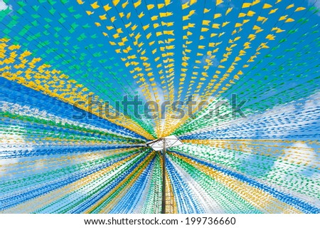 Sao Joao Party Flag, Culture of Northeast of Brazil - stock photo