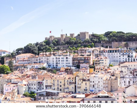 Sao Jorge views in Lisbon, portugal - stock photo