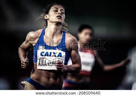 SAO PAULO - BRAZIL - August 1 - Ana Claudia Lemos, the Brazilian athlete 100m during the Ibero American Championships which takes place in ���ªcaro de Castro Melo Stadium, in Ibirapuera in Sao Paulo.  - stock photo