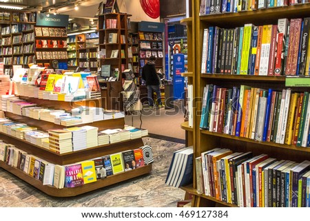 Sao Paulo, Brazil, August 10, 2016: Customers shop for books on book store in Sao Paulo