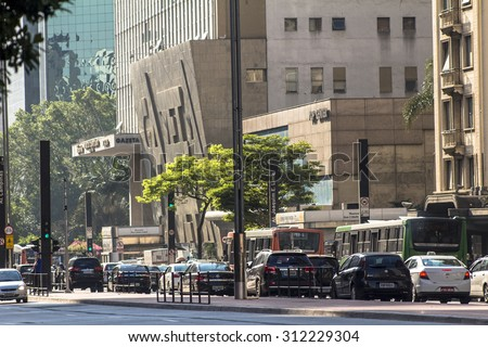 Sao Paulo, Brazil, August 26, 2015. Paulista Avenue is one of the most important thoroughfares of the city of Sao Paulo, one of the main financial centers of the city