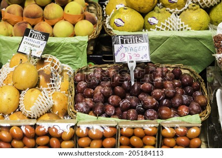 SAO PAULO, BRAZIL - CIRCA MARCH 14: Fresh Fruits at Municipal Market in Sao Paulo. More than 1,500 people works together to handle about 450 tons of food per day in its more than 290 boxes.