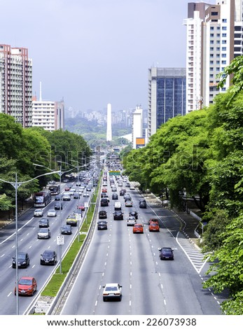 SAO PAULO, BRAZIL - CIRCA OCTOBER 2014: Traffic on the famous 23 de Maio Avenue in Sao Paulo, Brazil.