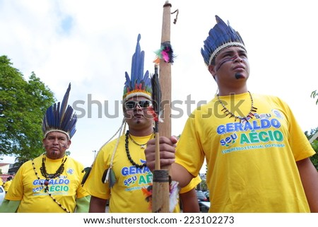 SAO PAULO, BRAZIL - CIRCA SEPTEMBER 2014 - Brazilian Indians supports opposition presidential candidate Aecio Neves. Political campaign 2014.