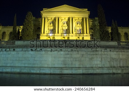 SAO PAULO, BRAZIL - December 08, 2012: The Museu Paulista of the University of Sao Paulo, at night. Contains documents and historically relevant artwork, relating to the Brazilian Empire era. - stock photo