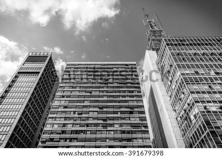 Sao Paulo, Brazil - Feb 8 2016 - Buildings - Paulista avenue - stock photo