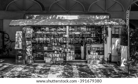 Sao Paulo, Brazil - Feb 8 2016  - Newsstand near to Paulista avenue