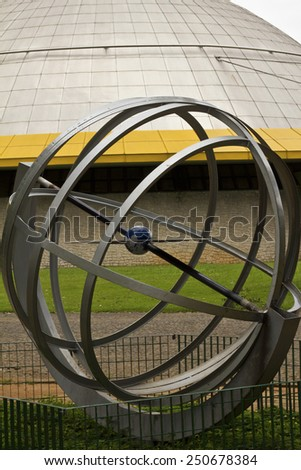 SAO PAULO, BRAZIL - FEBRUARY 01, 2015: A modern art monument in front of Planetarium in the Ibirapuera Park at Sao Paulo Brazil. - stock photo