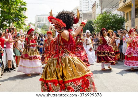 Sao Paulo, Brazil - February 6, 2016: Block African Ilú Oba De Min (Female Hands Touching barrel for King Shango).