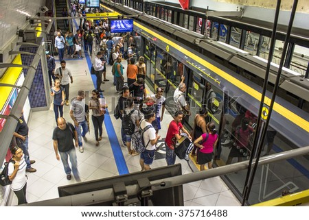 Sao Paulo, Brazil, February 11, 2016: Platform of station to the 4 yellow subway line, the Metropolitan Company of Sao Paulo, in downtown Sao Paulo