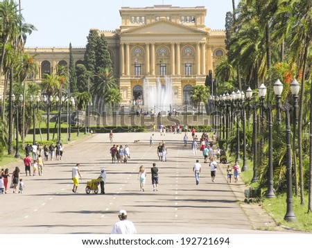SAO PAULO, BRAZIL - FEBRUARY 26, 2006: The Museu Paulista of the University of Sao Paulo contains collection of documents and historically relevant artwork, relating to the Brazilian Empire era. - stock photo