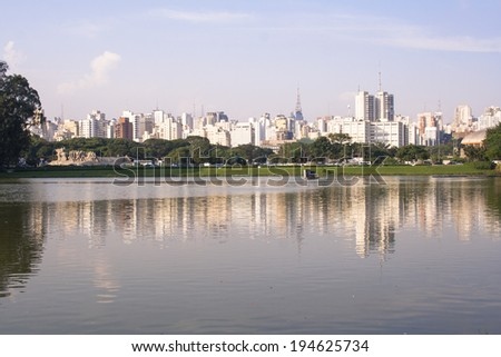 SAO PAULO, BRAZIL FEBRUARY 19, 2008. View of Sao Paulo city from Ibirapuera Park. The Ibirapuera is one of Latin America largest city parks. Brazil