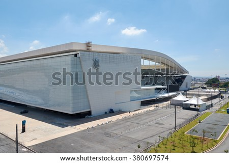 SAO PAULO, BRAZIL - FEV 19: Arena Corinthians in Itaquera on February 19, 2016. The Arena is new stadium of Sport Club Corinthians Paulista and was the Arena for the 2014 World Cup.