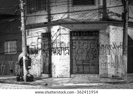 Sao Paulo, Brazil, January 12, 2016: street at night on Vila Carrao neighborhood, east zone Sao Paulo, Brazil