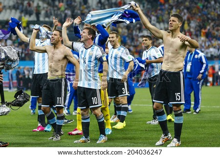 SAO PAULO, BRAZIL - July 9, 2014: Argentina team celebrate during the 2014 World Cup Semi-finals game between the Netherlands and Argentina at Arena Corinthians. NO USE IN BRAZIL.