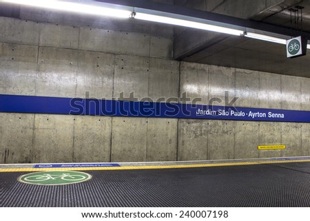 Sao Paulo, Brazil, July, 16, 2007: Bicycle entrance of platform in blue line to subway. The system length of 66 km and passenger traffic for day 4 million. - stock photo