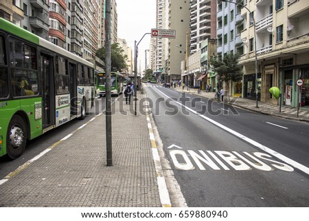 Sao Paulo, Brazil, July 07, 2014. Bus lane of the corridor that connects the neighborhood of Lapa to the Center of city, on Avenida Sao Joao, in the center of Sao Paulo, SP.