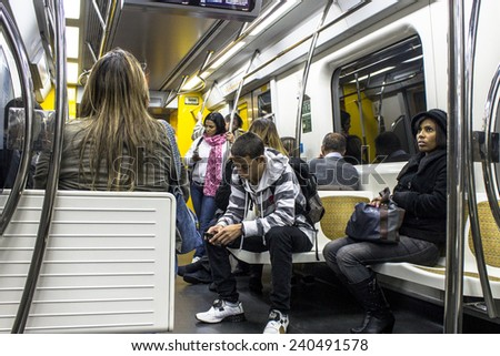 Sao Paulo, Brazil, July, 16, 2007: Inside to wagon of yellow line to subway. The system length of 66 km and passenger traffic for day 4 million. - stock photo