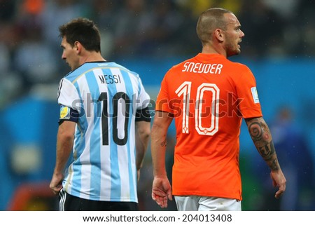 SAO PAULO, BRAZIL - July 9, 2014: Lionel Messi and Wesley Sneijder during the 2014 World Cup Semi-finals game between the Netherlands and Argentina at Arena Corinthians. NO USE IN BRAZIL.
