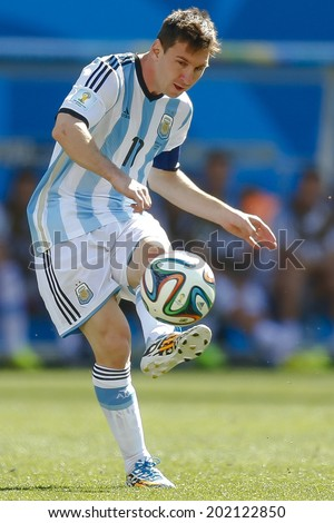 SAO PAULO, BRAZIL - July 1, 2014: Lionel Messi of Argentina during the Round of 16 game between Argentina and Switzerland at Arena Corinthians. No Use in Brazil. - stock photo
