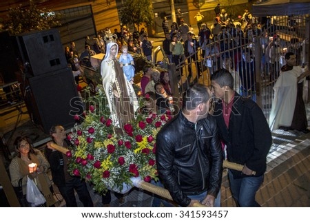 Sao Paulo, Brazil, July 20, 2014. Procession of the traditional feast dedicated to Our Lady of Carmo, at night in the Bela Vista neighborhood of Sao Paulo. Brazil
