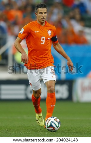 SAO PAULO, BRAZIL - July 9, 2014: Robin Van Persie during the 2014 World Cup Semi-finals game between the Netherlands and Argentina at Arena Corinthians. NO USE IN BRAZIL. - stock photo