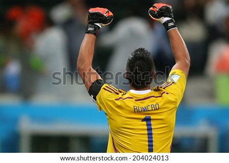 SAO PAULO, BRAZIL - July 9, 2014: Sergio Romero during the 2014 World Cup Semi-finals game between the Netherlands and Argentina at Arena Corinthians. NO USE IN BRAZIL.