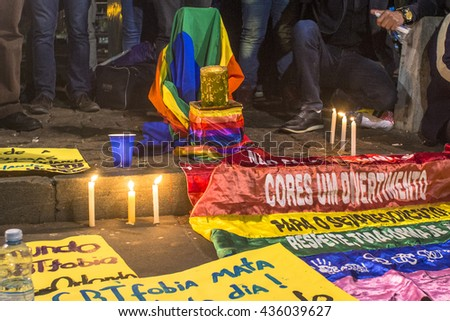 Sao Paulo, Brazil, June 12, 2016. People linked to the fight against discrimination of Lesbian, Gay and Transgender held a vigil in front of MASP on Paulista Avenue, in memory of attack in Orlando
