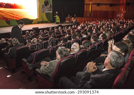 """Sao Paulo, Brazil, June 29, 2015: People on conference """"ANDEF Prize 2015"""" in the Congress-Center of the World Trade Center in Sao Paulo, Brazil - stock photo"""