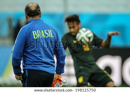 SAO PAULO, BRAZIL � June 11, 2014: The Brazil team during an official training session one day before the opening game between Brazil and Croatia at Corinthians Arena. No Use in Brazil.