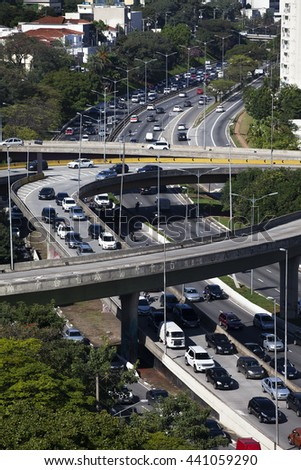 SAO PAULO, BRAZIL, JUNE 9, 2016: Viaduct over a traffic on the famous 23 de Maio Avenue in Sao Paulo, Brazil. This avenue run past Ibirapuera Park.