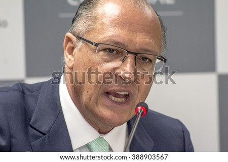 Sao Paulo, Brazil, March 07, 2016. Geraldo Alckmin, Governor of Sao Paulo state during the cycle of plenary sessions of the Commercial Association of Sao Paulo (ACSP), in downtown Sao Paulo,