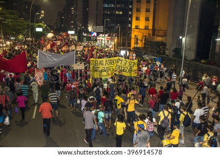 Sao Paulo, Brazil, March 24, 2016. Protest organized by social movements in the Act in defense of democracy and against the impeachment of President Dilma Rousseff, in Sao Paulo, SP
