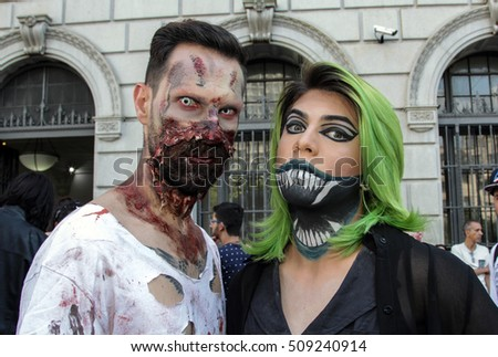 Sao Paulo, Brazil November 2 2016: An unidentified couple in traditional costumes in the annual event Zombie Walk in Sao Paulo Brazil.