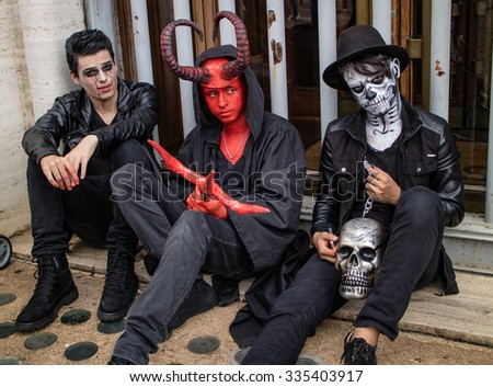 Sao Paulo, Brazil November 11 2015: An unidentified group of men in costumes in the annual event Zombie Walk in Sao Paulo Brazil.