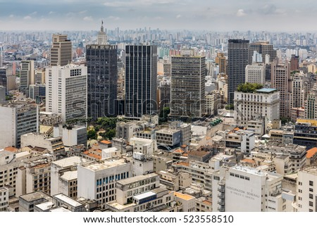 SAO PAULO, BRAZIL - NOVEMBER 23: modern view of Sao Paulo, one of the biggest cities in Brazil, as it can be seen from Edificio Italia on November 23, 2016.