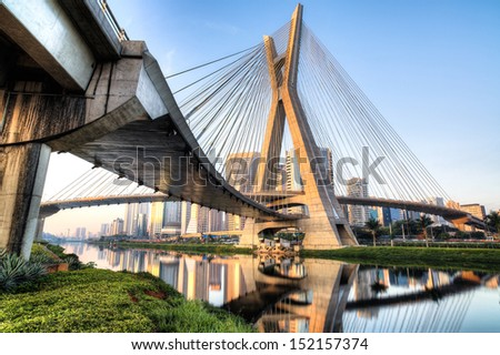 Sao Paulo - Brazil - Octavio Frias Bridge - South America - stock photo