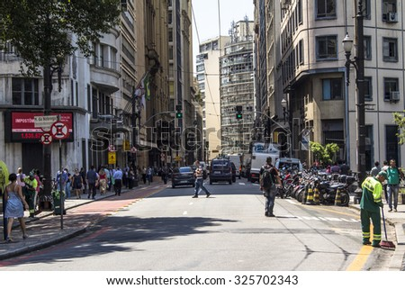 Sao Paulo, Brazil, October 09, 2015. Street in downtown Sao Paulo, Brazil.