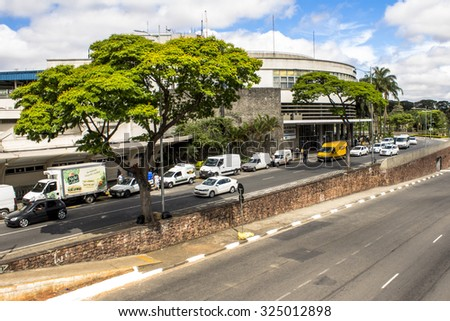 Sao Paulo, Brazil, October 05, 2015: Transit in Washington Luis Avenue in front of Congonhas Airport.