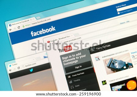 Sao Paulo, Brazil - Sep 2, 2012: Social networks web sites on a computer screen, including Facebook, Twitter and YouTube. Sep 2, 2012 in Sao Paulo, Brazil. - stock photo