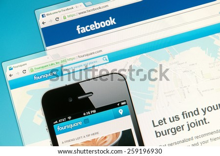 Sao Paulo, Brazil - Sep 2, 2012: Social networks web sites on a computer screen, including Facebook and Foursquare. Sep 2, 2012 in Sao Paulo, Brazil. - stock photo