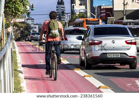 SAO PAULO, BRAZIL, September 20, 2014. Bicycle lane in downtown Sao Paulo - stock photo