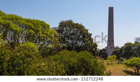 SAO PAULO, BRAZIL - SEPTEMBER 01: The obelisk of Sao Paulo in Ibirapuera Park on September 01, 2013. This monument is a symbol of the Constitutionalist Revolution of 1932.